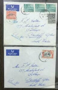 ADEN 1954 & 1957 TWO AIRMAIL COVERS TO UK WITH MULTIPLE STAMPS