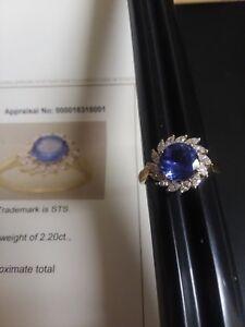NATURAL ROUND TANZANITE & MARQUISE DIAMOND RING 14KT YELLOW GOLD SZ 7 2.83 dwt