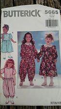 Butterick 5665 Dress & Jumpsuit  Sewing Pattern Girls Sizes 5-6x Uncut