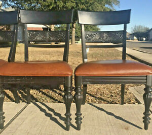*RARE* Ethan Allen British Classics Antique Black Specialty Chairs - Leather