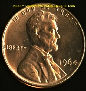 LINCOLN CENT 1964-P BU - ONE OF OUR  BEST - SHARP STRIKE- FREE SHIP # 1380