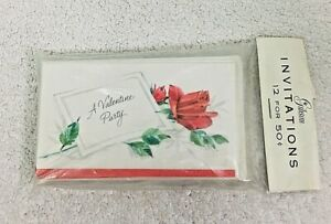 Vintage MIP Valentines Party Invitations Gibson 12 Pack Red Roses