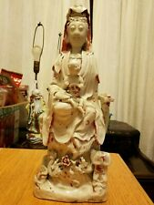 Large Antique Chinese Blanc de Chine Dehua Guanyin with Child and Acolytes