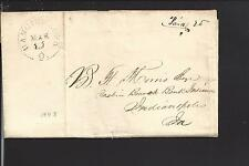 HANGING ROCK, OHIO 1843 STAMPLESS COVER, PAID 25 RATE, LAWRENCE CO. 1830/1931.