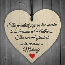 Greatest Joy Mother Midwife Wooden Hanging Heart Nurse Gift Student Plaque Sign