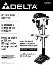 "Delta 20-950 20"" Floor Model Drill Press Instruction Manual"