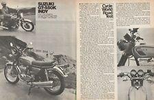 1973 Suzuki GT-550K Indy Motorcycle Road Test - 4-Page Vintage Article