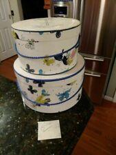 2 Vintage Hat Boxes 1940s 50s White Blue & Yellow Butterflies Stix Baer Fuller