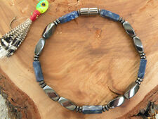 Men's Russian Blue Sodatite Magnetic Bracelet Anklet THERAPY 1-2 row QUICK Ship