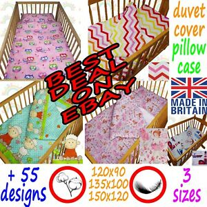 2 piece COT BEDDING set DUVET cover PILLOW case boy girl travel cot JUNIOR BED
