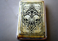 ACE OF SPADES DOUBLE SKULL STAR BRAND LIGHTER GOTH CARDS & EXTRA ZIPPO FLINTS