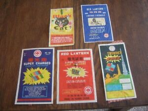Black Cat Red Lantern Thunder Bomb Super Charged  Fireworks Vintage Labels