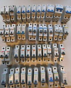 Job lot of 46 Circuit Breakers MCB Hager Merlin Gerin Schneider Proteus