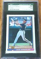 Luis Gonzalez 1991 Bowman Rookie Card RC graded SGC 92 NrMt-Mt++ BGS or PSA 8.5