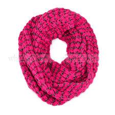 Stripped Knit Infinity Winter Scarf Elastic Warm Black White String Circle Loop