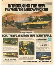 1978 Plymouth Arrow Pickup Truck Yellow Black Hauling Dirt Bikes Vtg Print Ad