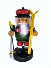 """Short Wooden Nutcracker Skier Holding Skis & Poles Christmas Decor 5.5""""H"""