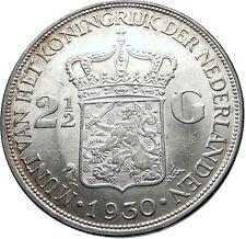 1930 Netherlands Queen WILHELMINA 2.5 Gulden Authentic DUTCH Silver Coin i71864