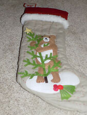New Pottery Barn Kids Woodland Stocking Teddy Bear Christmas