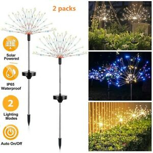 2 pcs Firework Starburst 120 LED Solar Light for Frontyard Patio Lawn Christmas