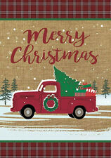 "Morigins Merry Christmas Red Truck Decor Winter Burlap Yard Garden Flag 12""x18"""