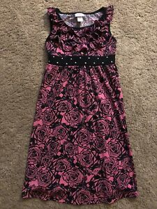 Justice Pink & Black Floral Roses Ruffle Dress 8 Girls