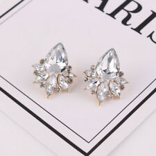 Elegant Women Crystal Rhinestone Water Drop Flower Ear Stud Earrings Jewelry