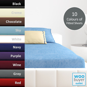 Extra Deep 25cm Fitted Sheets Bed Sheets, Single Double King Size