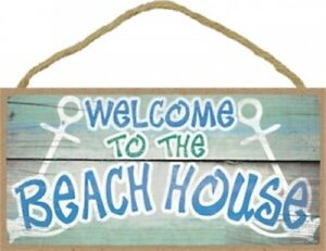 Welcome To The Beach House Beach Ocean Wall 10x5 NEW Hanging Wood Sign D23