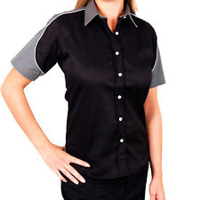 Team Wear Fitted Ladies/Womens GT Blouse In Black & Grey - Large L