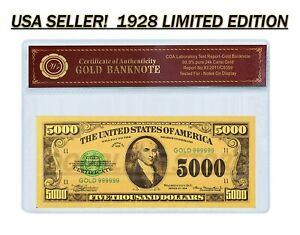 24K .999 GOLD 1928 $5000 GOLD CERTIFICATE BANKNOTE W/ COA (CERT OF AUTHENTICITY)