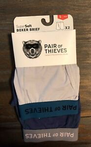 2 Pack Mens Pair of Thieves SuperSoft Boxer Brief Underwear Grey & Blue Size S