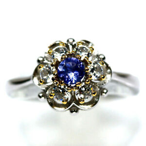 NATURAL 4 mm. BLUE TANZANITE & WHITE CZ RING 925 STERLING SILVER SIZE8