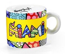 ROMERO BRITTO 'MIAMI' Mini Ceramic Cup / Mug Collector Miniature 2 oz. **NEW**