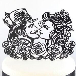 Steampunk Wedding Cake Topper Rose Gothic Rock