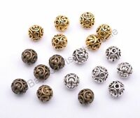 Tibetan Silver Round Heart Metal Carved Hollow Spacer Charms Beads Jewellry 12MM