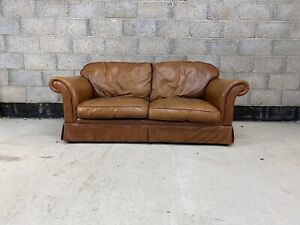Laura Ashley Chichester Sofa Upholstered in Aged Tanned Leather