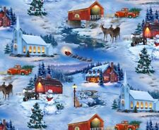 Fat Quarter Country Christmas Holiday Scene Cotton Quilting Fabric