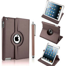BROWN PU LEATHER 360 DEG SMART STAND COVER CASE FOR IPAD 2/3/4