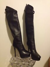 Haider Ackermann Black Over the Knee Platform Boots w/ Skin Design Sz 41 M