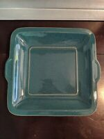 "Denby Harlequin Square Handled Serving Plate GREEN 10.25"" x 9.5""x 1.25"" England"