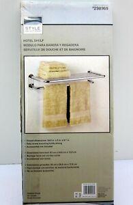 """Style Selections 9005SSMV 1 Tier Bathroom Shelf 24"""" x 10"""" Polished Chrome Towel"""