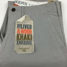 Levi's Dockers D2 Lived & Worn Khaki Chinos Straight Fit Trousers Volcanic Ash 34w X 34l