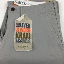Dockers D2 Levi Mens Straight Leg Khaki Chinos Trousers Pants Genuine 33/32 Stone
