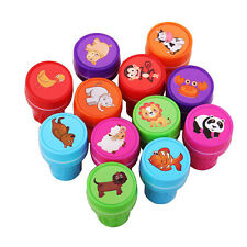 12PCS Cartoon Animal Stamps Seal Set Self Inking Stamps Toy Gifts for Kids New