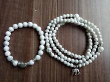 Marla pearl white Howlite bracelet 2pc set elephant bracelet yoga pray peng Dan
