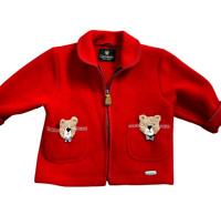 Giesswein Austrian Kids Red Wool Knit Teddy Bear Full Zip Sweater Jacket Size 4