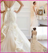 Sweetheart White/ivory Wedding Dresses Plus Size Mermaid Lace Bridal Gown Custom