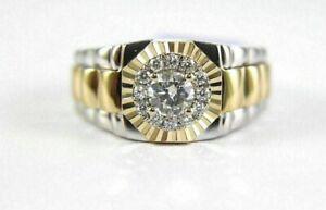 1.64 ct Round Cut Diamond 14k Two-Tone Gold Finish Men's Pinky Wedding Band Ring