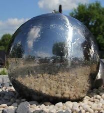 Kugelbrunnen 75 cm incl. LED Gartenbrunnen Wasserspiel Edelstahl poliert